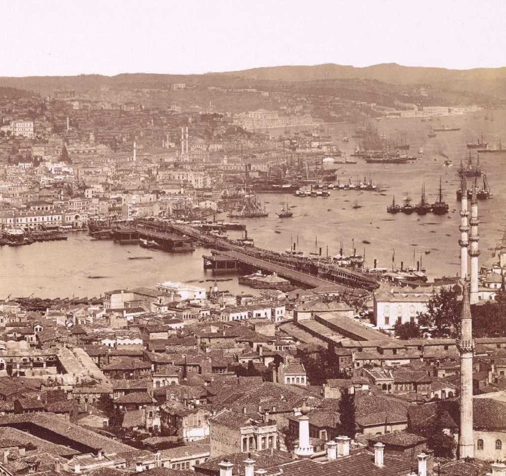 Panoramic view of Istanbul and the Golden Horn taken from the top of Seraskier (or Beyazit) Tower by the Swedish photographer Guillaume Berggren c 1870.